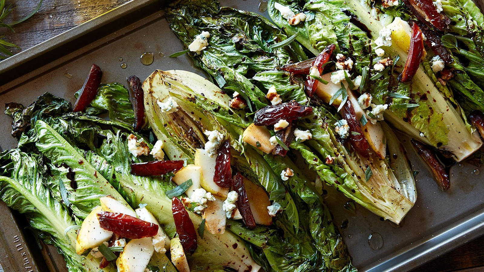 Balsamic-Glazed-Grilled-Romaine-Hearts-with-Blue-Cheese,-Medjool-Dates-&-Pears