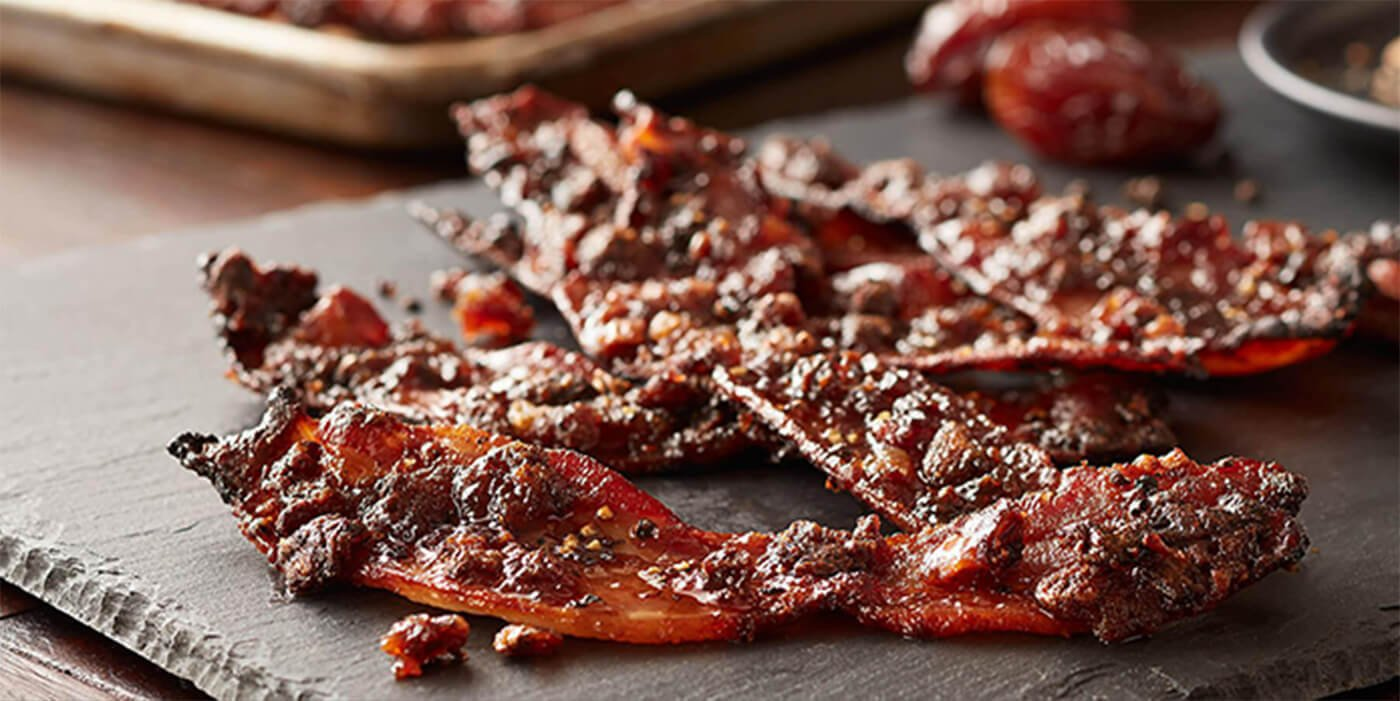Candied Black Pepper and Medjool Date Bacon