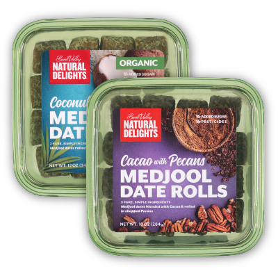 packages of Natural Delights date rolls