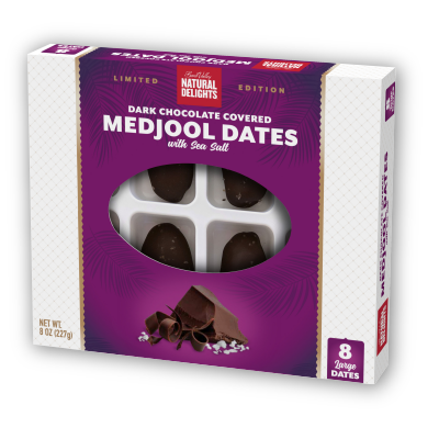 package of Natural Delights chocolate covered dates