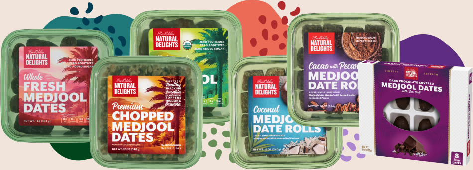 a lineup of Natural Delights products